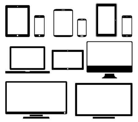 palmtop: Screens - icon set. Vector illustration of different screens.