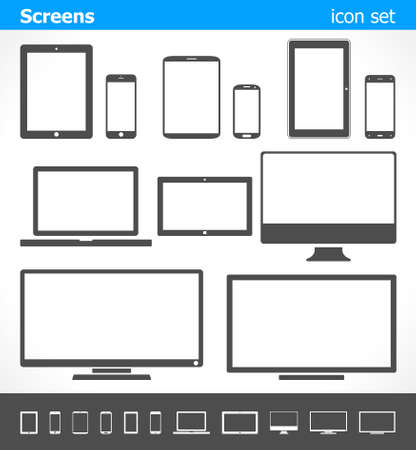electronic organizer: Vector illustration of different screens on light and dark background.