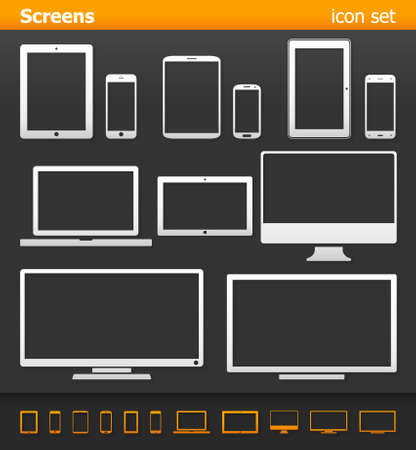 electronic organizer: Screens - icon set.Vector illustration of different screens on dark background.