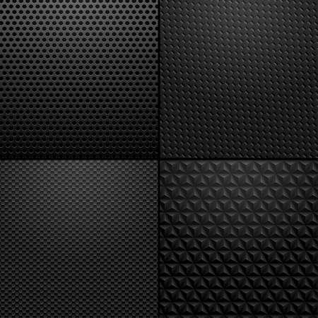 質地: 碳和金屬質感 - 背景說明。黑碳,金屬圖案的矢量插圖。