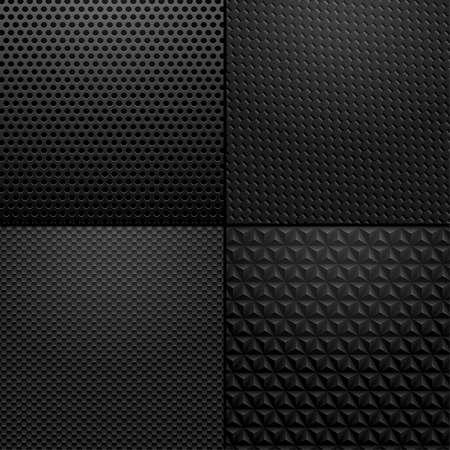 Carbon and Metallic texture - background illustration. Vector illustration of black carbon, metallic patterns. Stock Photo