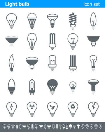 cf: Lampadina icone - illustrazione. Illustrazione vettoriale delle icone della lampada. Vettoriali