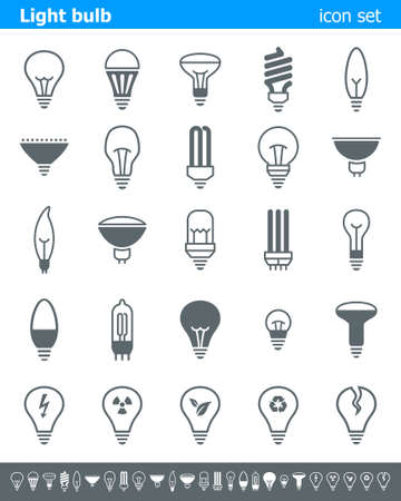 light blue: Light bulb icons - Illustration. Vector illustration of lamp icons. Illustration