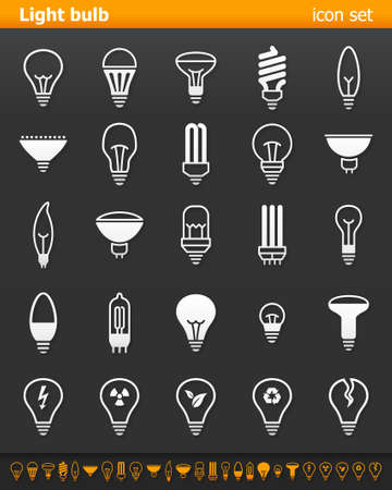 cf: Light bulb icons - Illustration. Vector illustration of lamp icons on dark background. Illustration