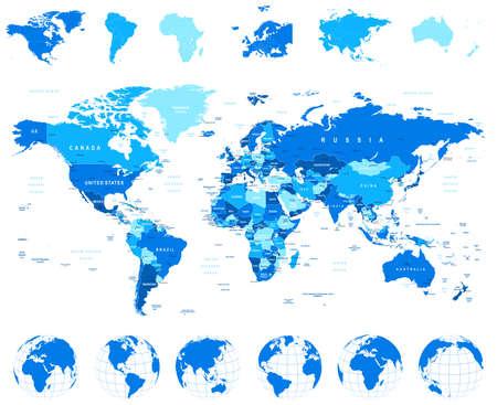 World Map, Globes, Continenten - illustratie. Zeer gedetailleerde vector illustratie van de wereldkaart, globes en continenten.