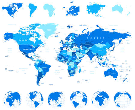 world map blue: World Map, Globes, Continents - illustration. Highly detailed vector illustration of world map, globes and continents.