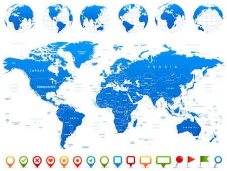 země: Mapa světa, Globusy, světadíly, navigační ikony - ilustrace. Velmi podrobné vektorové ilustrace mapa světa, globusy a kontinenty.