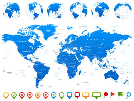 highly detailed: World Map, Globes, Continents, Navigation Icons - illustration. Highly detailed vector illustration of world map, globes and continents.