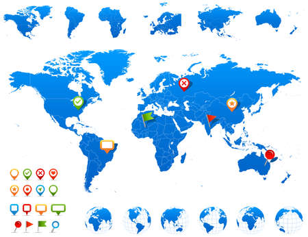 země: Mapa světa, globusy a navigační ikony - ilustrace. Vektorové ilustrace mapových a navigačních světových ikon.