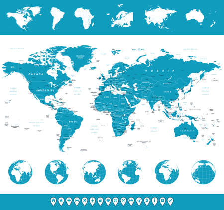 information medium: World Map, Globes, Continents, Navigation Icons - illustration.