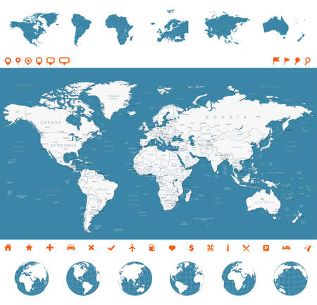 Highly detailed vector illustration of world map, globes and continents.