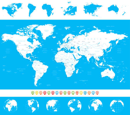 the country: World Map, Globes, Continents, Navigation Icons - illustration. Highly detailed vector illustration of world map, globes and continents.