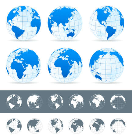 world map blue: Globes set - illustration. Vector set of different globe views. Made in blue, gray and white variants.