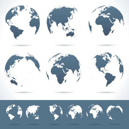 zeměkoule: Globes set - ilustrace. Vektor soubor různých pohledů zeměkoule. No kontury. Ilustrace