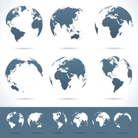 Globes set - illustration. Vector set of different globe views. No contours. Vettoriali