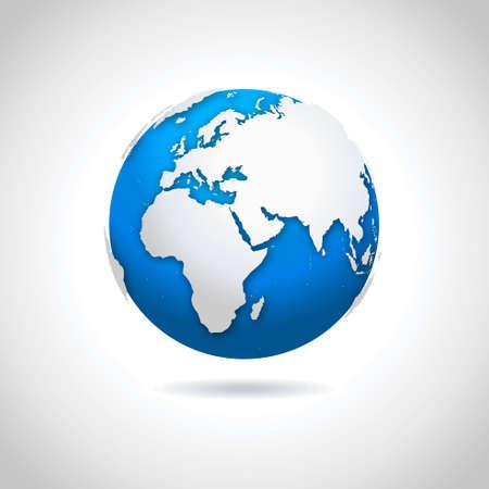 Vector illustratie van blauw-witte wereldbol symbool met druppel schaduw effect.