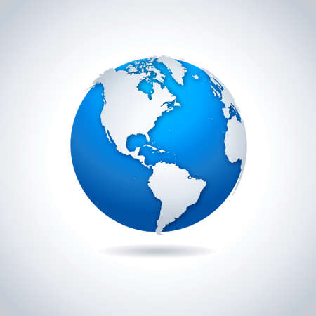 north america: Globe icon. Vector illustration of blue-white globe symbol with drop shadow effect.
