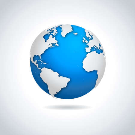 wereldbol: Vector illustratie van blauw-witte wereldbol symbool met druppel schaduw effect.