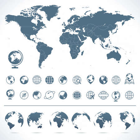 World Map, Globes Icons and Symbols - Illustration. Vector set of world map and globes.