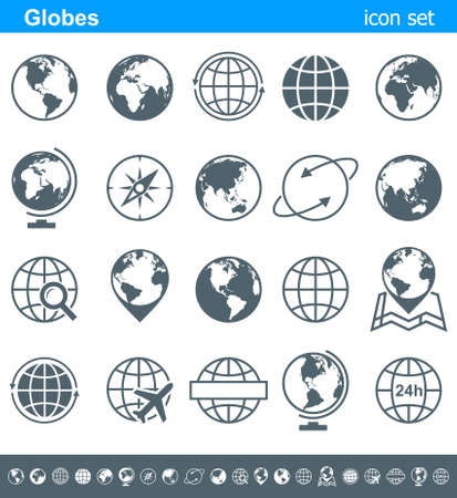 global internet: Globes Icons and Symbols - Illustration. Vector set of globe icons.
