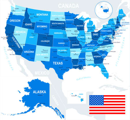 USA map and flag - highly detailed vector illustration. Image contains land contours, country and land names, city names, water object names, flag. Illustration