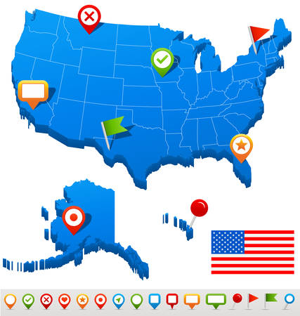 Estados Unidos Estados Unidos mapa de navegación y los iconos - ilustración.