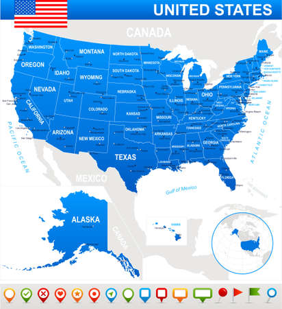 new york map: United States USA - map, flag and navigation icons - illustration. USA map and flag - highly detailed vector illustration. Illustration