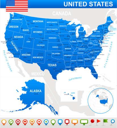 Verenigde Staten USA - kaart, de vlag en navigatiepictogrammen - illustratie. Kaart van de VS en de vlag - zeer gedetailleerde vector illustratie.
