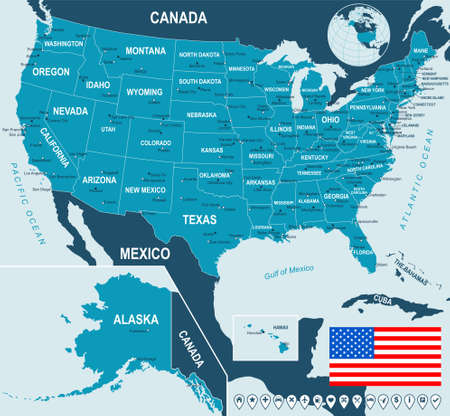 USA map and flag - highly detailed vector illustration. Image contains land contours, country and land names, city names, water object names, flag, navigation icons.