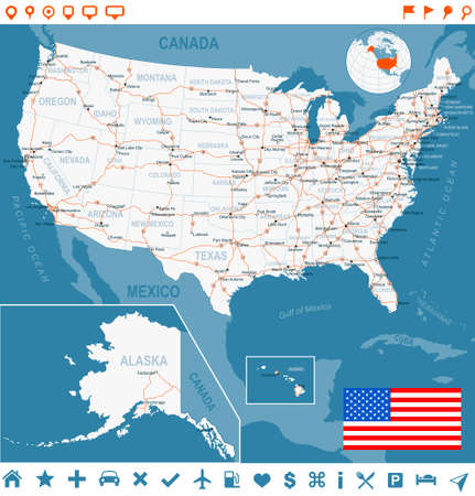 usa map: USA map and flag - highly detailed vector illustration. Image contains land contours, country and land names, city names, water object names, flag, navigation icons, roads, railways.