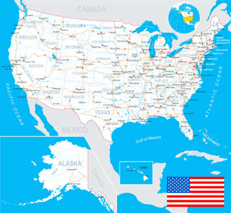 us map: United States USA - map, flag, navigation labels, roads - illustration.