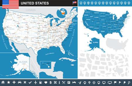 Kaart van de VS en de vlag - zeer gedetailleerde vector illustratie. Het beeld bevat land contouren, land en land namen, stadsnamen, water voorwerpen, vlag, navigatiepictogrammen, wegen, spoorwegen. Stock Illustratie