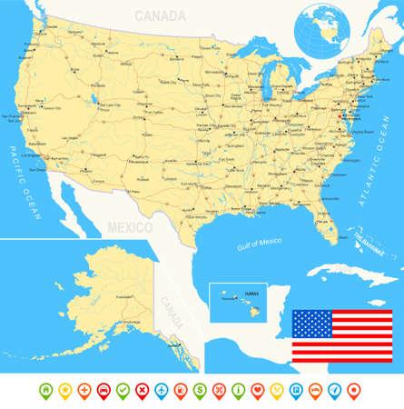 Estados Unidos EE.UU. - mapa, bandera, iconos de navegación, carreteras, ríos - ilustración. Foto de archivo - 43473044