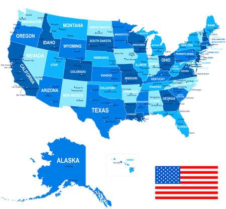 bandera estados unidos: Estados Unidos EE.UU. - Mapa, bandera y de navegación iconos - ilustración.