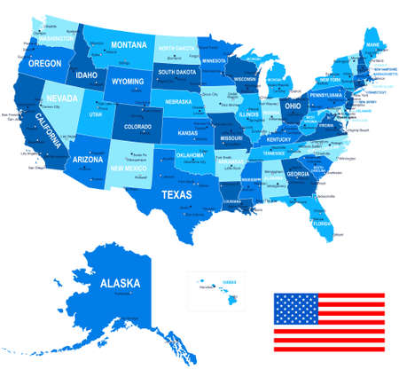 new york map: United States USA - map, flag and navigation icons - illustration.
