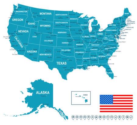 mapa: Estados Unidos EE.UU. - mapa, bandera de navegación y etiquetas - ilustración.