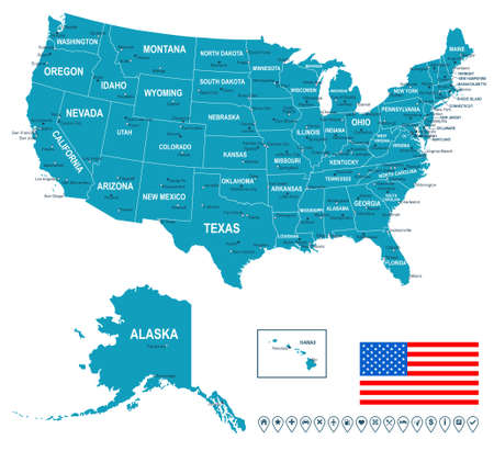 us map: United States USA - map, flag and navigation labels - illustration. Illustration