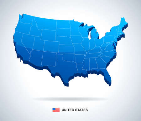 vector maps: USA map - three-dimensional vector illustration.