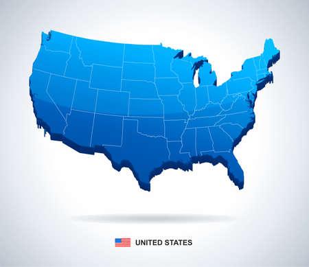 mappa: USA map - tridimensionale illustrazione vettoriale.