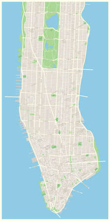Highly detailed vector map of Lower and Mid Manhattan in New York including all streets, parks, names of subdistricts, points of interests, labels, neighborhoods. Illustration