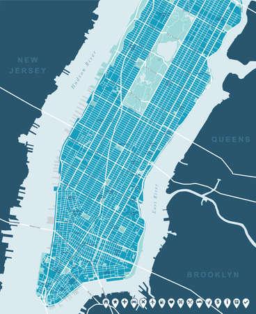 뉴욕지도 - 낮은과 중간 맨하탄. 스톡 콘텐츠 - 43472736