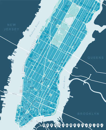 geographical locations: New York Map - Lower and Mid Manhattan.