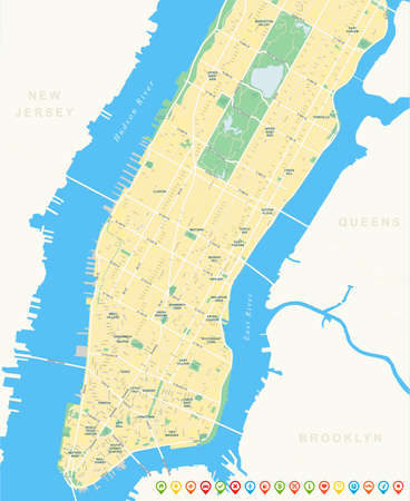 geographical locations: New York Map - Lower and Mid Manhattan including all streets, parks, names of subdistricts, points of interests, labels, neighborhoods.
