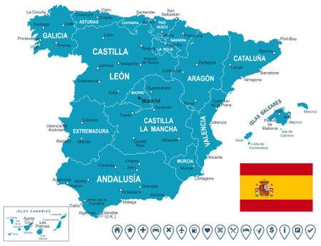 Spain map - map, flag and navigation labels - illustration.