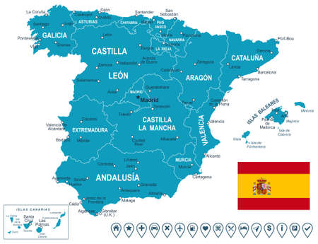 european map: Spain map - map, flag and navigation labels - illustration.