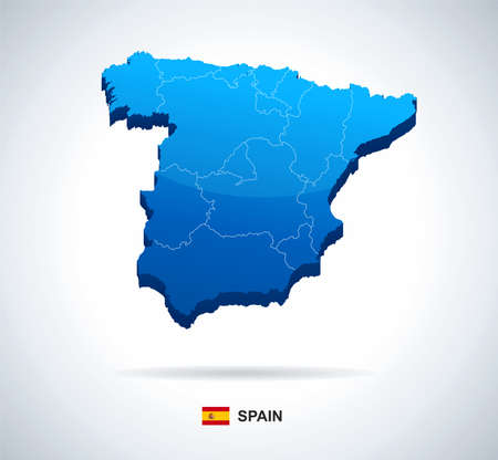 geographical locations: Spain - 3D illustration. Spain map - three-dimensional vector illustration.
