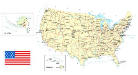米国 - 詳細地図 - イラスト。地図には、地形の輪郭、国や土地の名前、都市、水、道路、鉄道が含まれています。  イラスト・ベクター素材