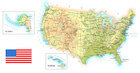 us map: USA - detailed topographic map - illustration.