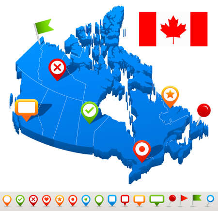Vector illustration of Canada map and navigation icons.