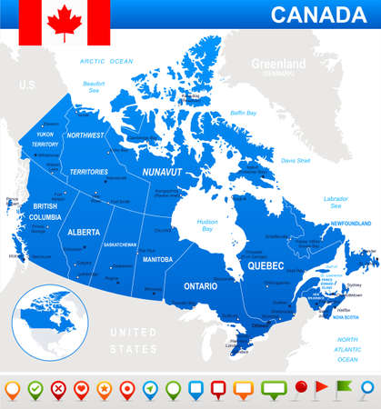 Map of Canada and flag - highly detailed vector illustration. Image contains land contours, country and land names, city names, water object names, flag, navigation icons. Illusztráció